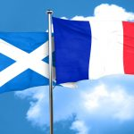 scotland flag with France flag, 3D rendering