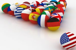 European Union in the form of pyramids of billiard balls - before the US threat - 3D illustration