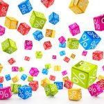 falling percent cubes - colorful