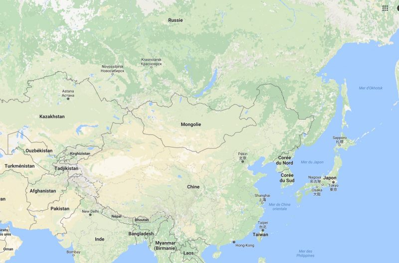Carte Corée Nord Sud Chine Russie Japon