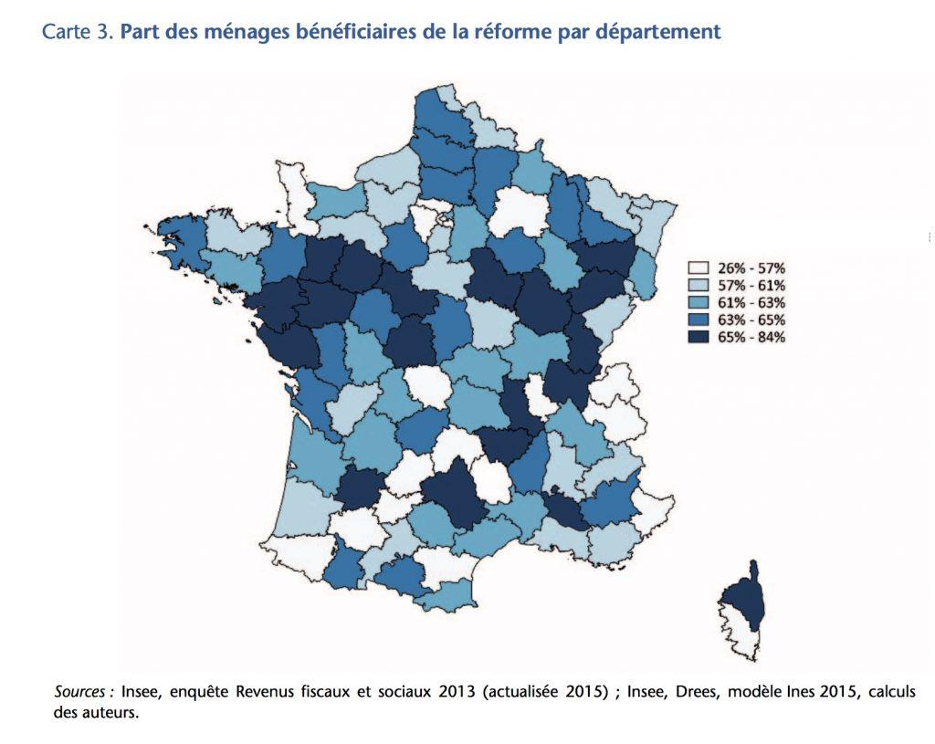 Taxe habitation reforme macron part des menages neneficiaires par departement