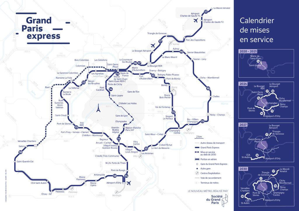Grand paris express plan et dates mise en service des lignes